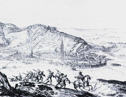Belagerung Freiburgs 1677, rechts im Hintergrund die Wiehre