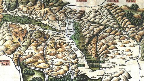 Karte vom Oberrhein um 1496